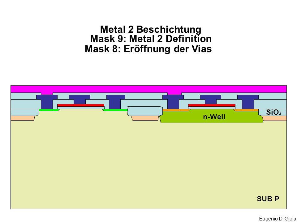Eugenio Di Gioia SUB P Metal 2 Beschichtung n-Well SiO 2 Mask 9: Metal 2 Definition Mask 8: Eröffnung der Vias