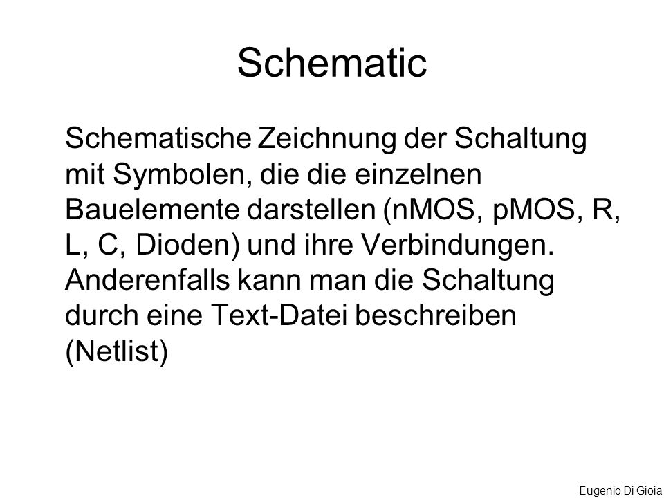 Eugenio Di Gioia Schematic Schematische Zeichnung der Schaltung mit Symbolen, die die einzelnen Bauelemente darstellen (nMOS, pMOS, R, L, C, Dioden) u