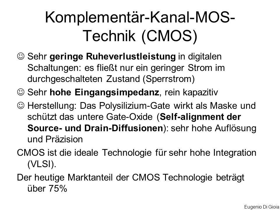 Eugenio Di Gioia Komplementär-Kanal-MOS- Technik (CMOS) Sehr geringe Ruheverlustleistung in digitalen Schaltungen: es fließt nur ein geringer Strom im