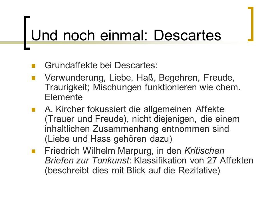 Und noch einmal: Descartes Grundaffekte bei Descartes: Verwunderung, Liebe, Haß, Begehren, Freude, Traurigkeit; Mischungen funktionieren wie chem. Ele