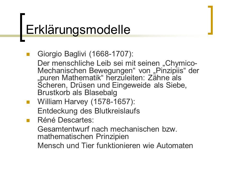 Erklärungsmodelle Giorgio Baglivi (1668-1707): Der menschliche Leib sei mit seinen Chymico- Mechanischen Bewegungen von Pinzipiis der puren Mathematik