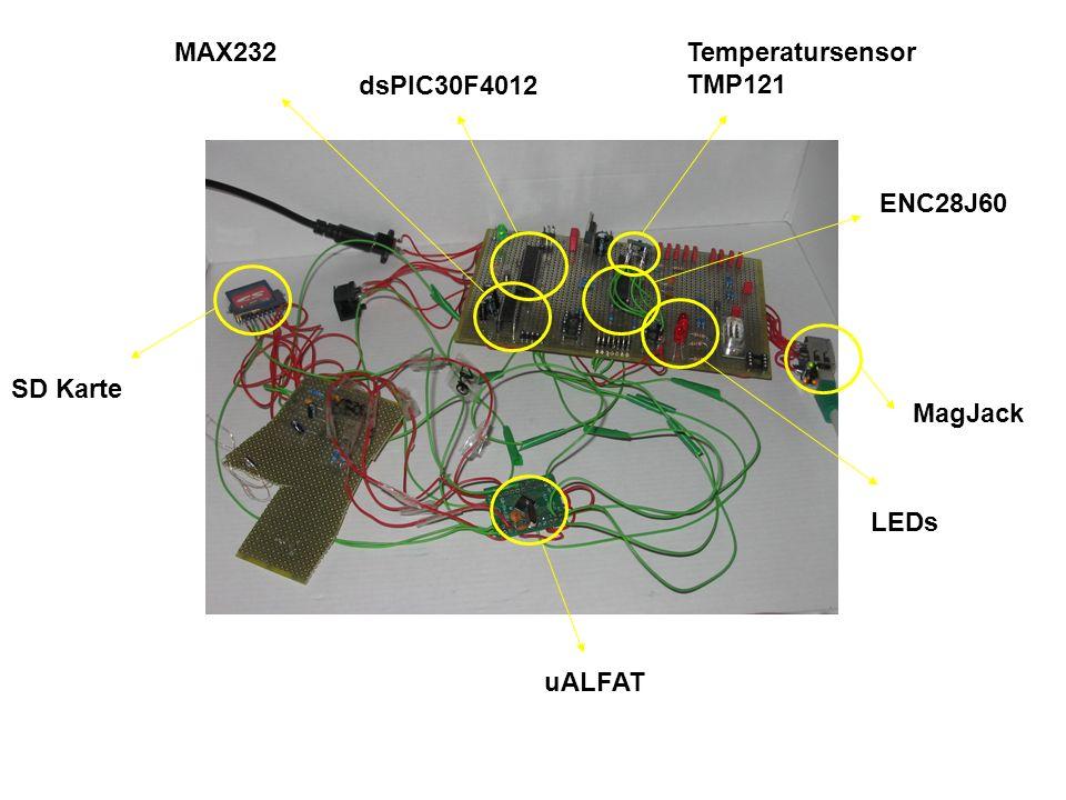 MAX232 dsPIC30F4012 Temperatursensor TMP121 ENC28J60 MagJack LEDs uALFAT SD Karte