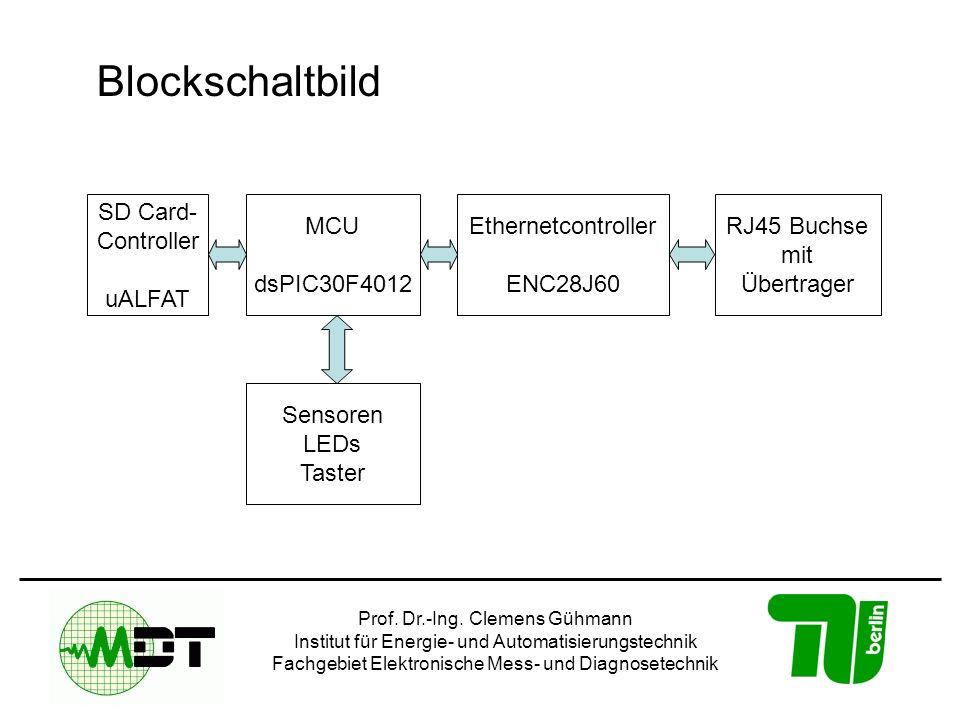 Prof. Dr.-Ing. Clemens Gühmann Institut für Energie- und Automatisierungstechnik Fachgebiet Elektronische Mess- und Diagnosetechnik Blockschaltbild SD