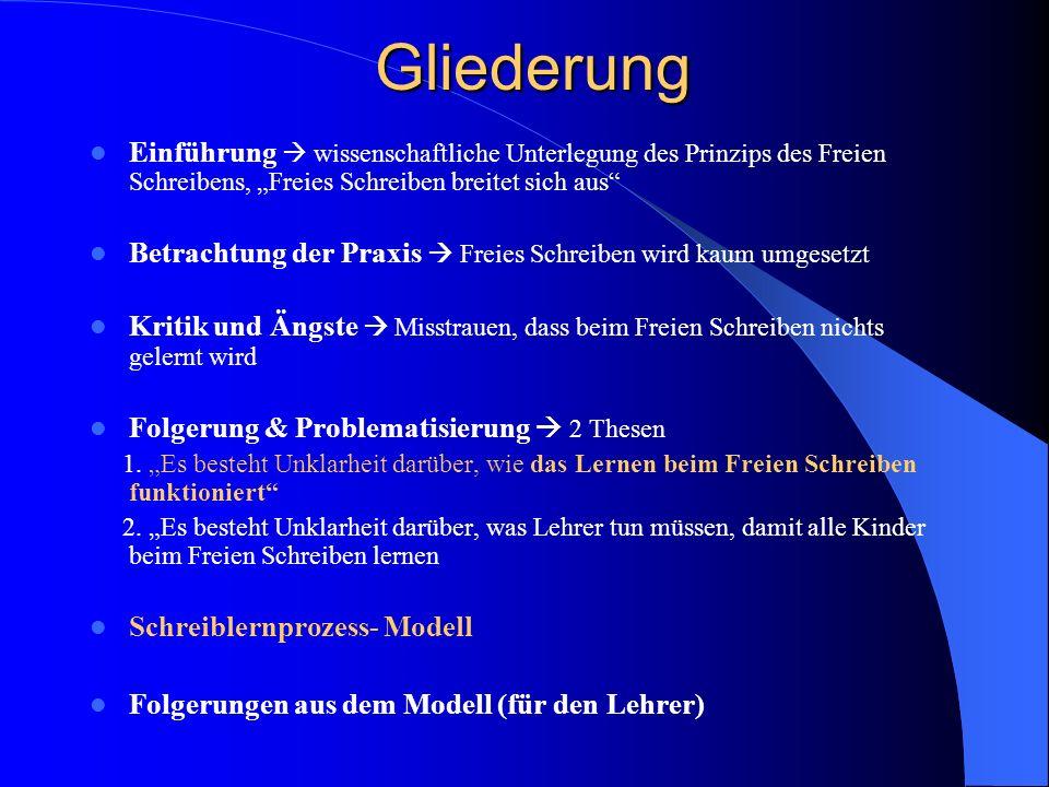 Gliederung Einführung wissenschaftliche Unterlegung des Prinzips des Freien Schreibens, Freies Schreiben breitet sich aus Betrachtung der Praxis Freie