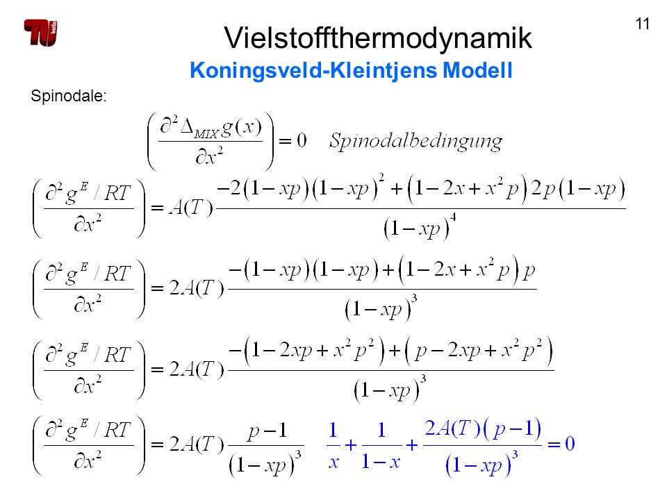 11 Spinodale: Vielstoffthermodynamik Koningsveld-Kleintjens Modell