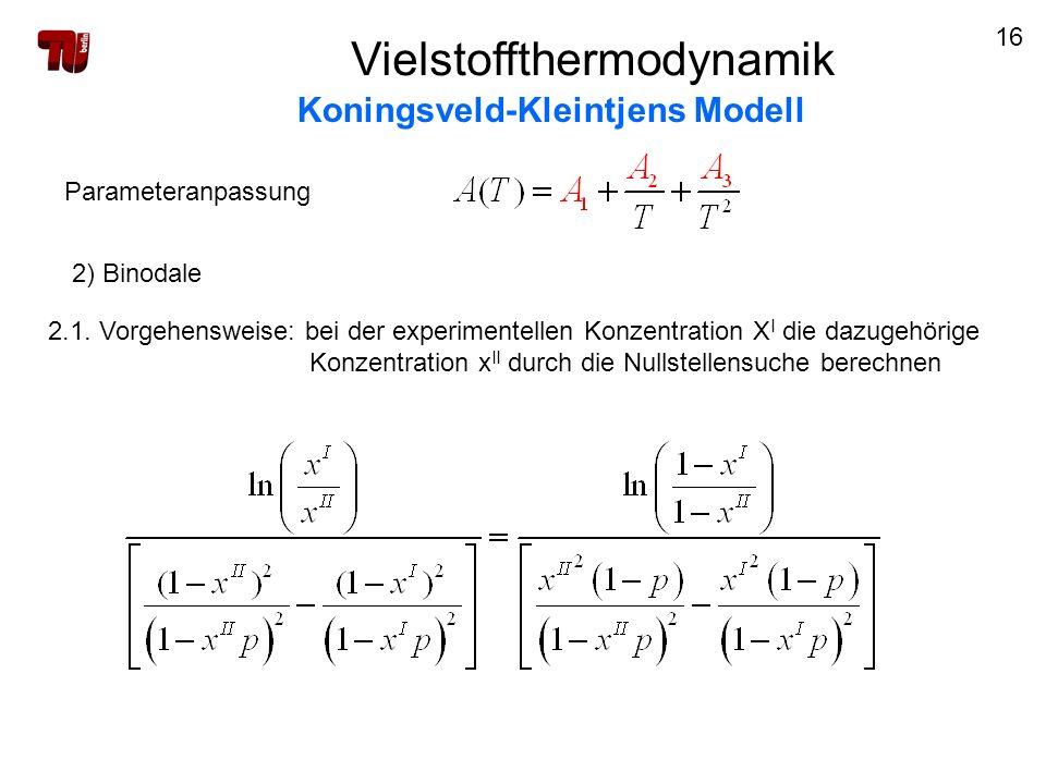 16 Vielstoffthermodynamik Koningsveld-Kleintjens Modell Parameteranpassung 2) Binodale 2.1. Vorgehensweise: bei der experimentellen Konzentration X I
