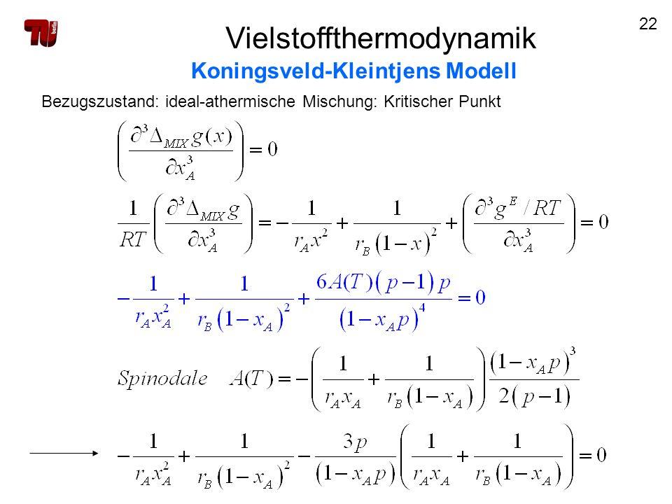 22 Vielstoffthermodynamik Koningsveld-Kleintjens Modell Bezugszustand: ideal-athermische Mischung: Kritischer Punkt