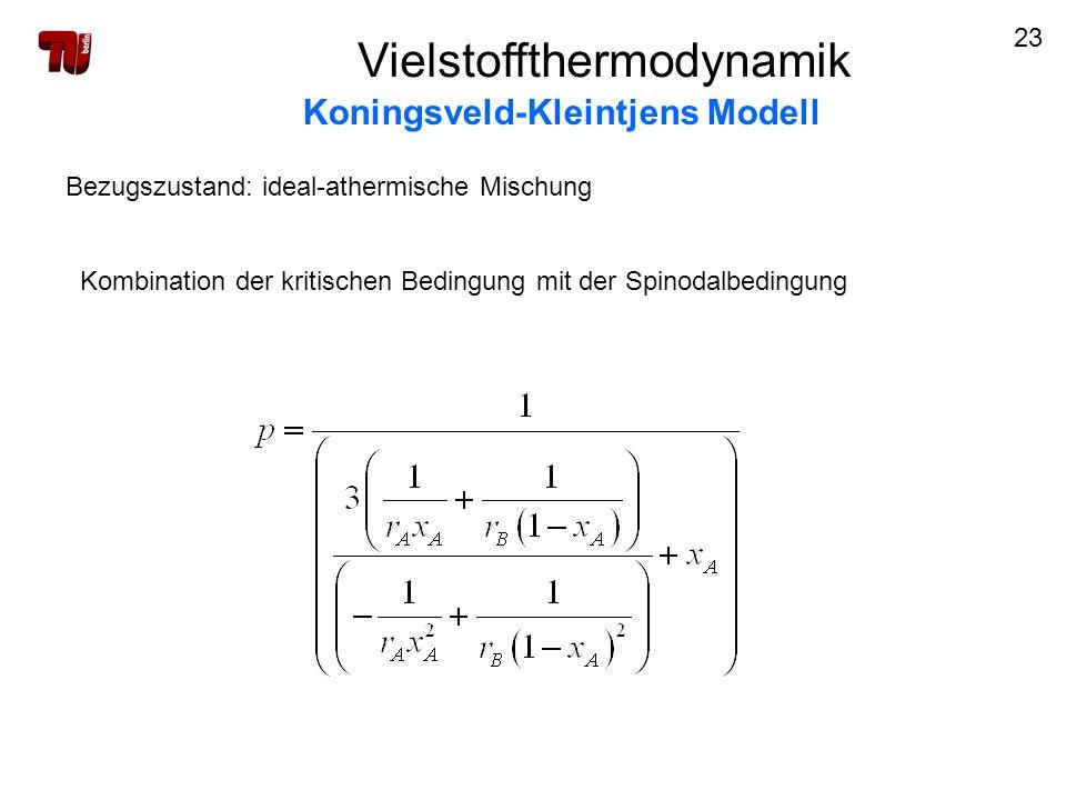 23 Vielstoffthermodynamik Koningsveld-Kleintjens Modell Bezugszustand: ideal-athermische Mischung Kombination der kritischen Bedingung mit der Spinoda
