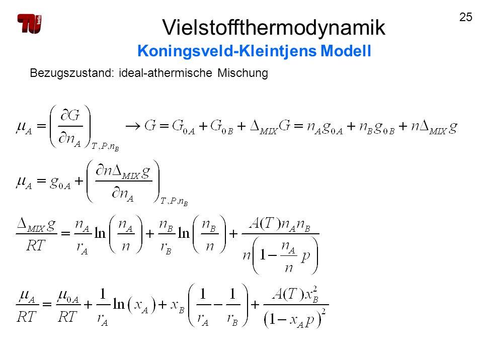 25 Vielstoffthermodynamik Koningsveld-Kleintjens Modell Bezugszustand: ideal-athermische Mischung