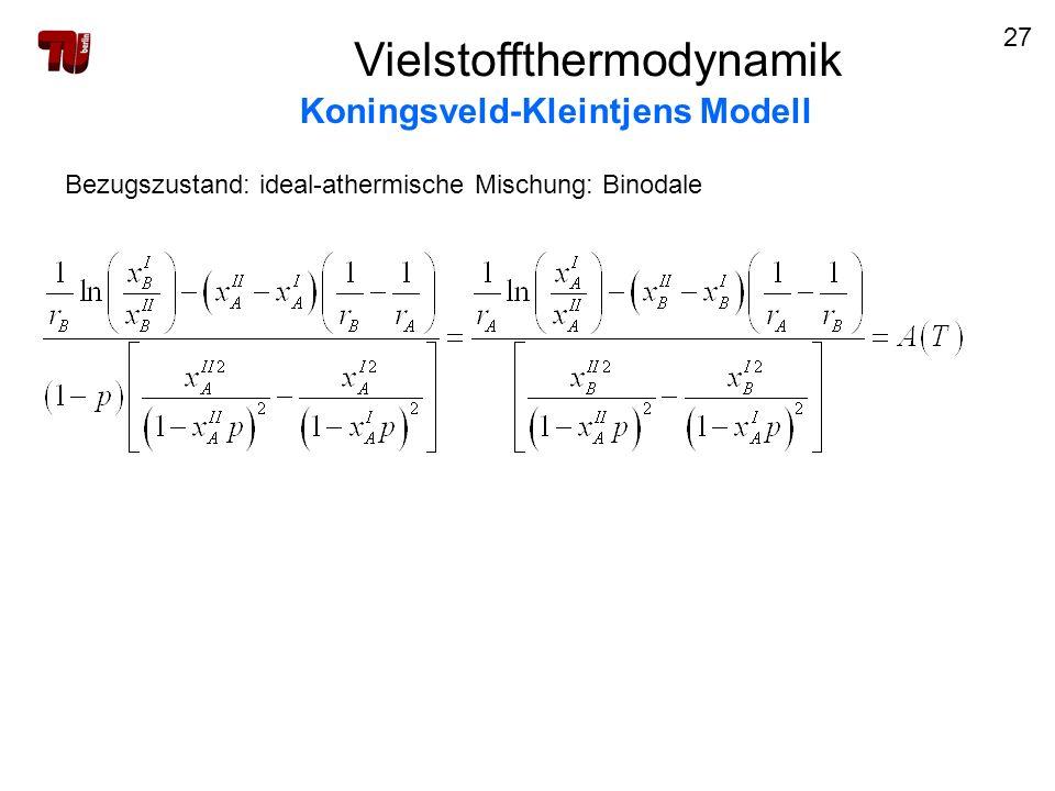 27 Vielstoffthermodynamik Koningsveld-Kleintjens Modell Bezugszustand: ideal-athermische Mischung: Binodale