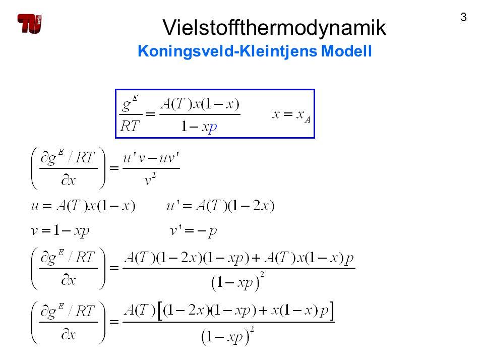 24 Vielstoffthermodynamik Koningsveld-Kleintjens Modell Bezugszustand: ideal-athermische Mischung