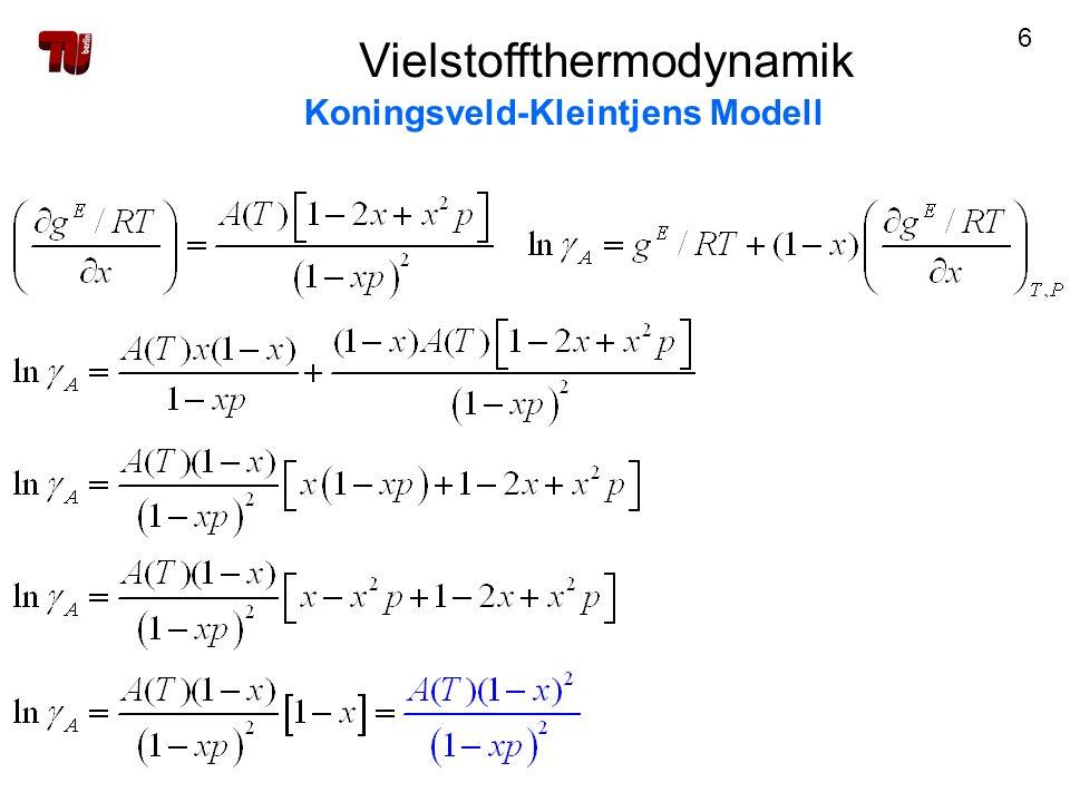 17 Vielstoffthermodynamik Koningsveld-Kleintjens Modell Parameteranpassung 2) Binodale 2.2.