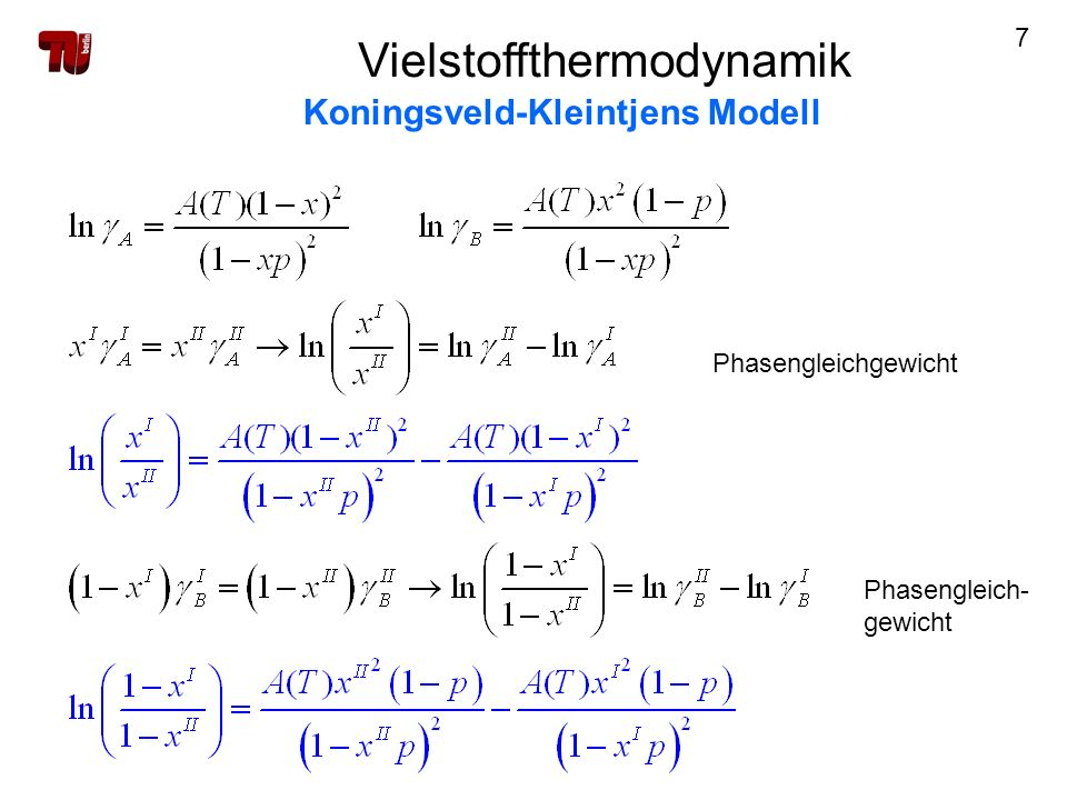 7 Phasengleichgewicht Phasengleich- gewicht Vielstoffthermodynamik Koningsveld-Kleintjens Modell
