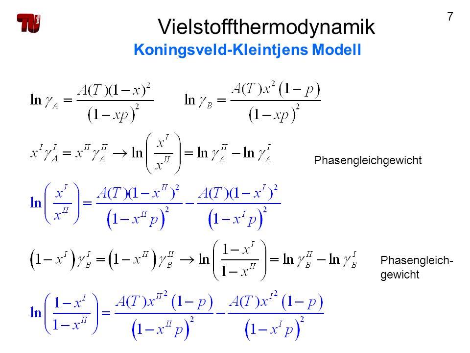 18 Vielstoffthermodynamik Koningsveld-Kleintjens Modell Parameteranpassung 3) VLE - Daten 3.1.