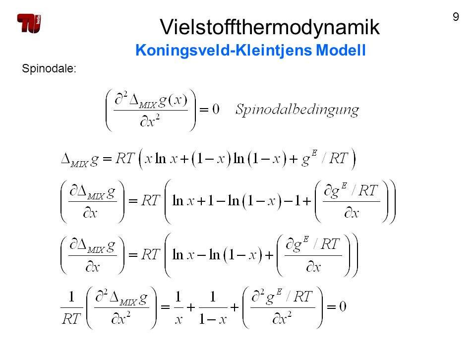 10 Spinodale: Vielstoffthermodynamik Koningsveld-Kleintjens Modell