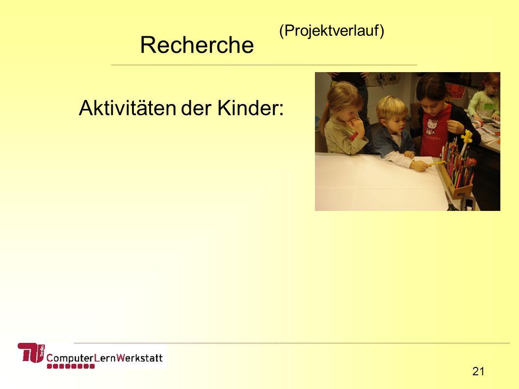 21 Aktivitäten der Kinder: Recherche (Projektverlauf)