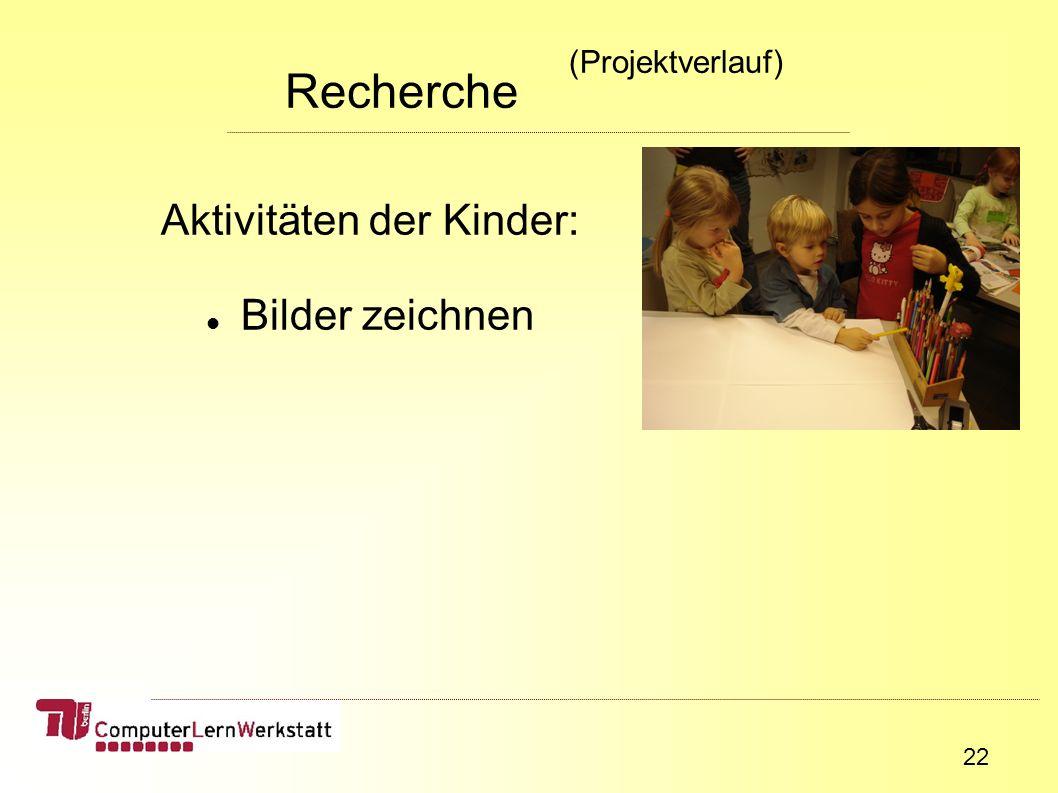 22 Aktivitäten der Kinder: Bilder zeichnen Recherche (Projektverlauf)