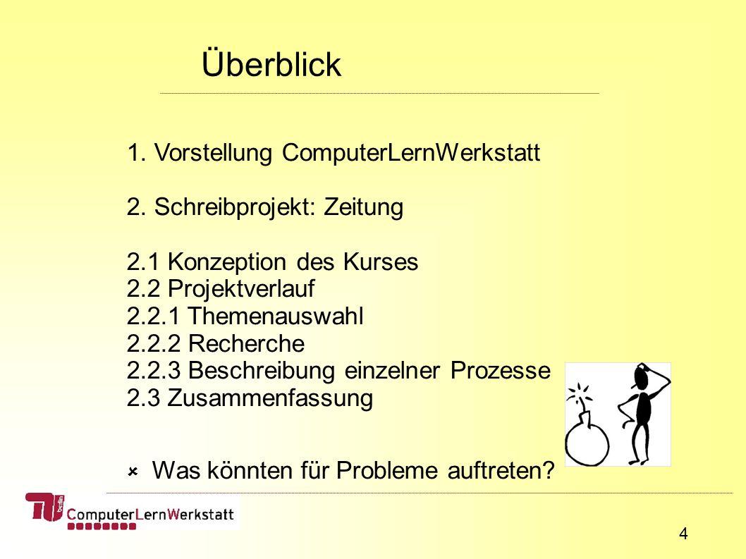 4 Überblick 1. Vorstellung ComputerLernWerkstatt 2.