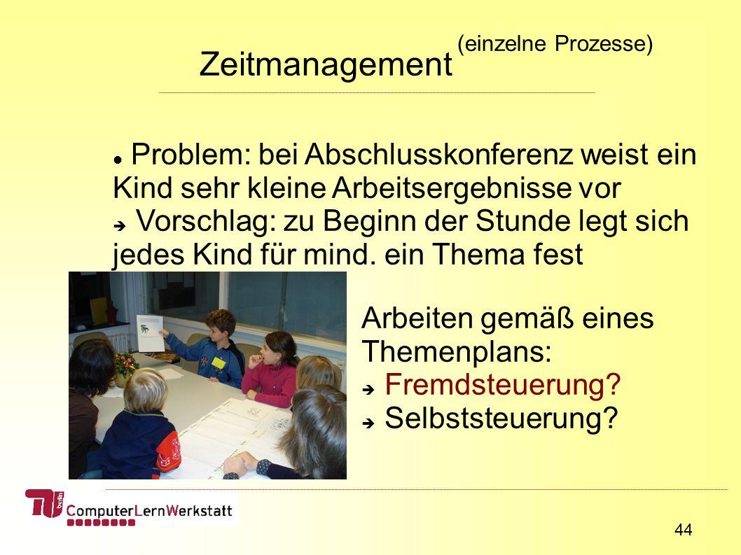 44 Zeitmanagement (einzelne Prozesse) Problem: bei Abschlusskonferenz weist ein Kind sehr kleine Arbeitsergebnisse vor Vorschlag: zu Beginn der Stunde legt sich jedes Kind für mind.
