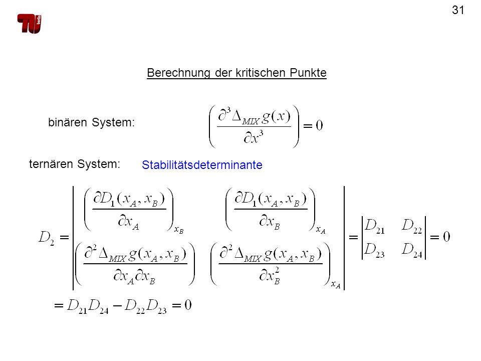 31 Berechnung der kritischen Punkte binären System: ternären System: Stabilitätsdeterminante