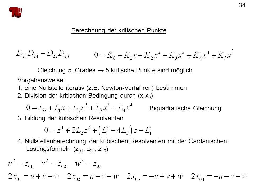 34 Berechnung der kritischen Punkte Gleichung 5. Grades 5 kritische Punkte sind möglich Vorgehensweise: 1. eine Nullstelle iterativ (z.B. Newton-Verfa