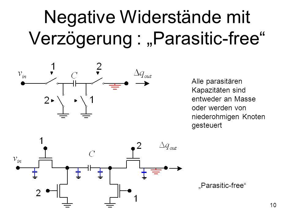 10 Alle parasitären Kapazitäten sind entweder an Masse oder werden von niederohmigen Knoten gesteuert Negative Widerstände mit Verzögerung : Parasitic-free Parasitic-free