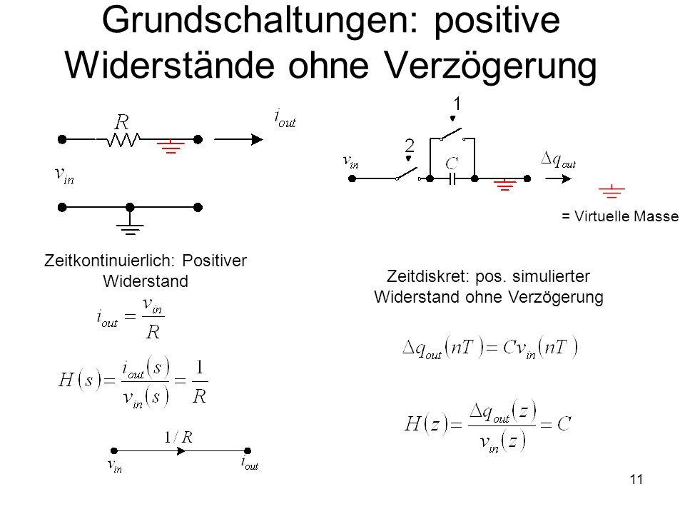 11 Grundschaltungen: positive Widerstände ohne Verzögerung Zeitdiskret: pos. simulierter Widerstand ohne Verzögerung = Virtuelle Masse Zeitkontinuierl