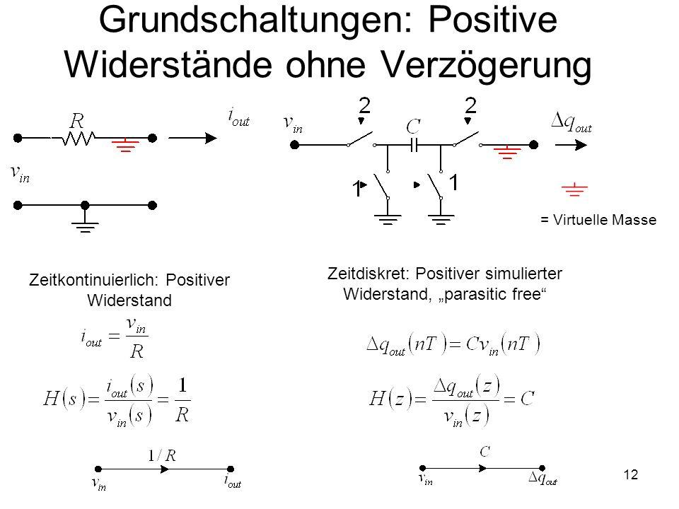 12 Grundschaltungen: Positive Widerstände ohne Verzögerung Zeitkontinuierlich: Positiver Widerstand Zeitdiskret: Positiver simulierter Widerstand, par