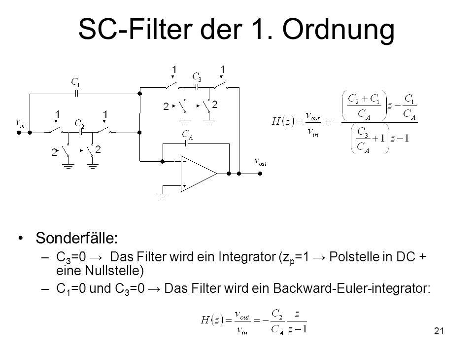 21 SC-Filter der 1. Ordnung Sonderfälle: –C 3 =0 Das Filter wird ein Integrator (z p =1 Polstelle in DC + eine Nullstelle) –C 1 =0 und C 3 =0 Das Filt