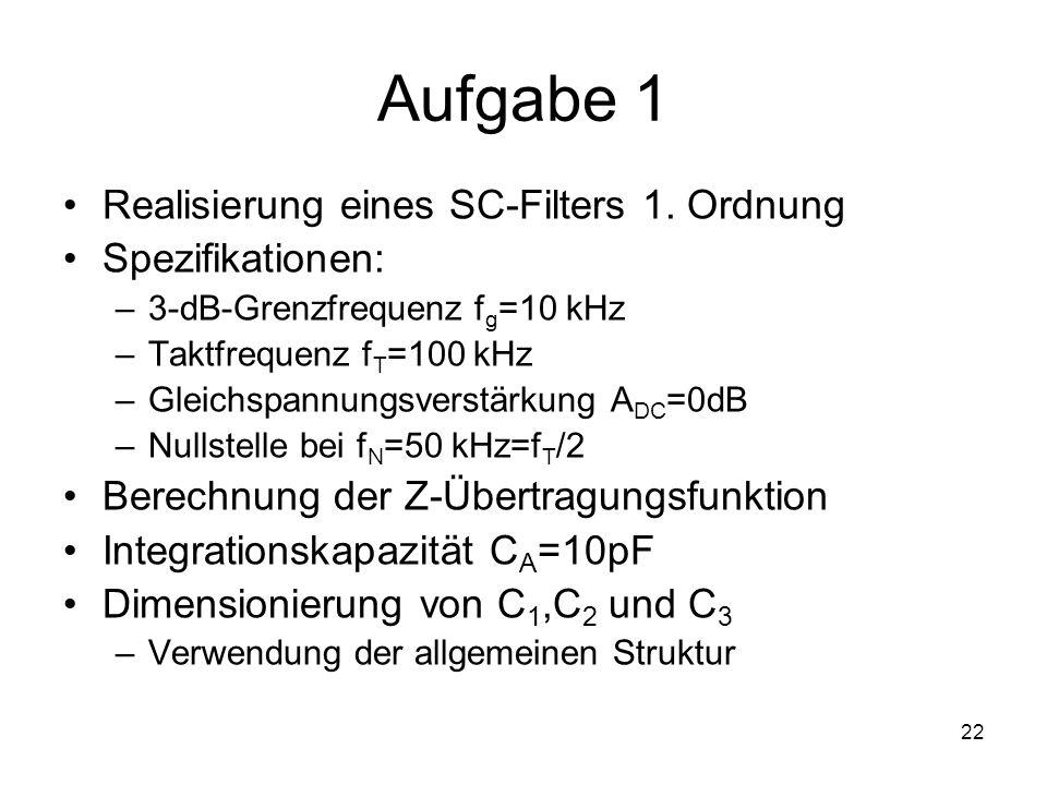 22 Aufgabe 1 Realisierung eines SC-Filters 1. Ordnung Spezifikationen: –3-dB-Grenzfrequenz f g =10 kHz –Taktfrequenz f T =100 kHz –Gleichspannungsvers