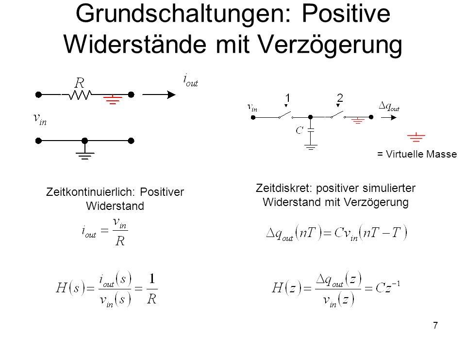 7 Grundschaltungen: Positive Widerstände mit Verzögerung Zeitdiskret: positiver simulierter Widerstand mit Verzögerung = Virtuelle Masse Zeitkontinuierlich: Positiver Widerstand