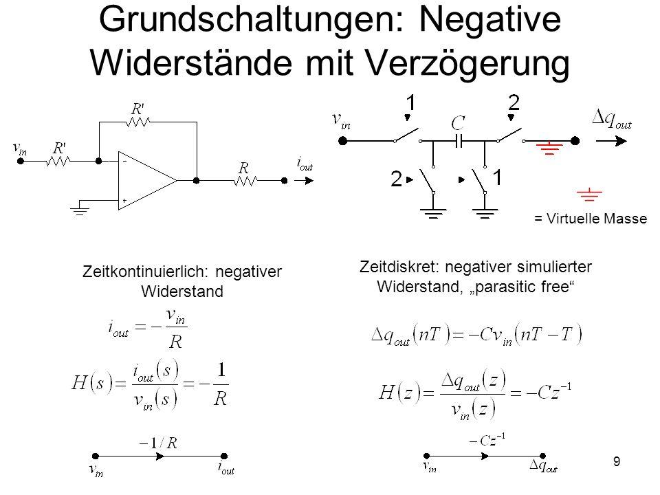 9 Zeitkontinuierlich: negativer Widerstand Zeitdiskret: negativer simulierter Widerstand, parasitic free = Virtuelle Masse Grundschaltungen: Negative