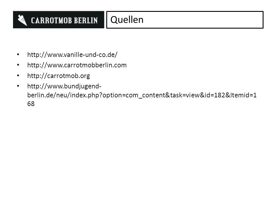 http://www.vanille-und-co.de/ http://www.carrotmobberlin.com http://carrotmob.org http://www.bundjugend- berlin.de/neu/index.php?option=com_content&task=view&id=182&Itemid=1 68 Quellen