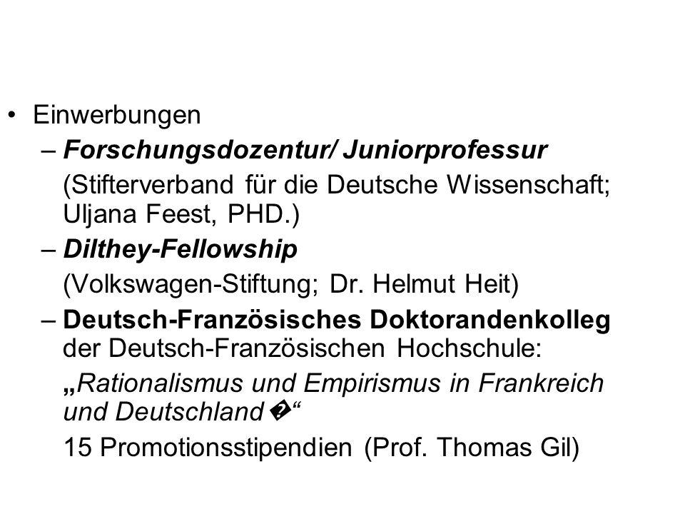 Einwerbungen –Forschungsdozentur/ Juniorprofessur (Stifterverband für die Deutsche Wissenschaft; Uljana Feest, PHD.) –Dilthey-Fellowship (Volkswagen-S