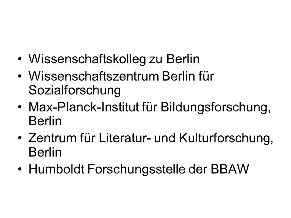Wissenschaftskolleg zu Berlin Wissenschaftszentrum Berlin für Sozialforschung Max-Planck-Institut für Bildungsforschung, Berlin Zentrum für Literatur-