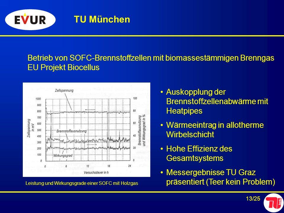 13/25 Betrieb von SOFC-Brennstoffzellen mit biomassestämmigen Brenngas EU Projekt Biocellus TU München Auskopplung der Brennstoffzellenabwärme mit Hea
