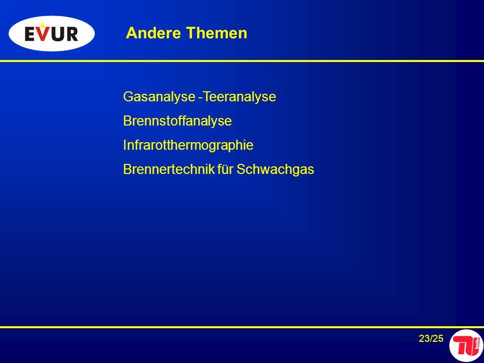23/25 Andere Themen Gasanalyse -Teeranalyse Brennstoffanalyse Infrarotthermographie Brennertechnik für Schwachgas