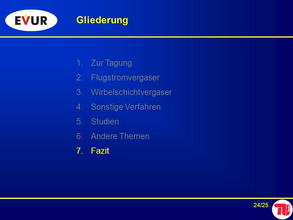 24/25 Gliederung 1.Zur Tagung 2.Flugstromvergaser 3.Wirbelschichtvergaser 4.Sonstige Verfahren 5.Studien 6.Andere Themen 7.Fazit