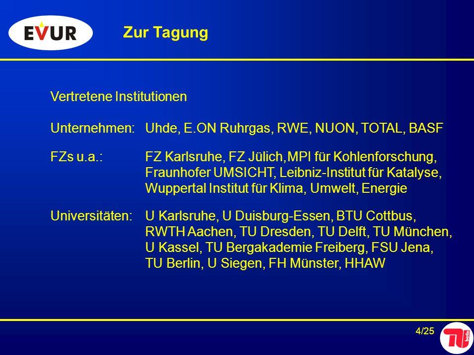 4/25 Zur Tagung Vertretene Institutionen Unternehmen:Uhde, E.ON Ruhrgas, RWE, NUON, TOTAL, BASF FZs u.a.:FZ Karlsruhe, FZ Jülich,MPI für Kohlenforschu