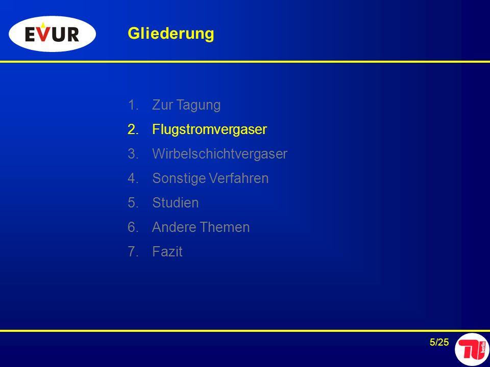 5/25 Gliederung 1.Zur Tagung 2.Flugstromvergaser 3.Wirbelschichtvergaser 4.Sonstige Verfahren 5.Studien 6.Andere Themen 7.Fazit