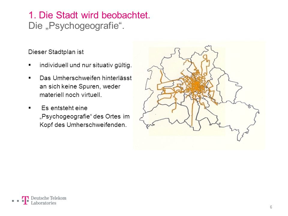 5 1. Die Stadt wird beobachtet. Situationistische Stadtforschung.