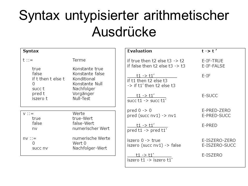 Syntax untypisierter arithmetischer Ausdrücke Evaluationt -> t if true then t2 else t3 -> t2E-IF-TRUE if false then t2 else t3 -> t3E-IF-FALSE t1 -> t