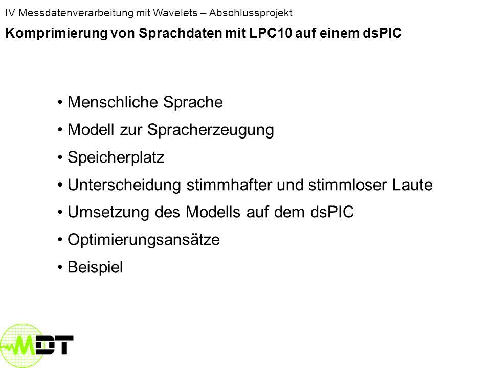 Komprimierung von Sprachdaten mit LPC10 auf einem dsPIC Diana Bindrich, diana13th@yahoo.de Stephan Lehmann, uni@stephanlehmann.net IV Messdatenverarbeitung mit Wavelets – Abschlussprojekt Komprimierung von Sprachdaten mit LPC10 auf einem dsPIC