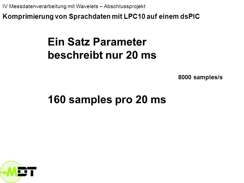 IV Messdatenverarbeitung mit Wavelets – Abschlussprojekt Komprimierung von Sprachdaten mit LPC10 auf einem dsPIC Ein Satz Parameter beschreibt nur 20 ms