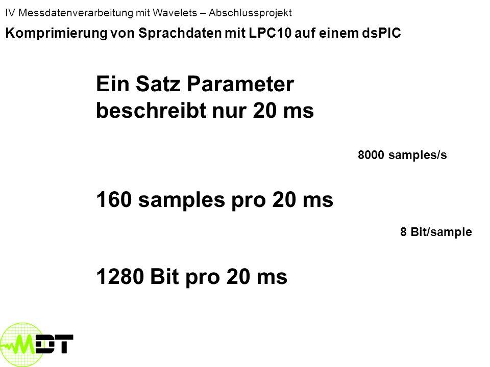 IV Messdatenverarbeitung mit Wavelets – Abschlussprojekt Komprimierung von Sprachdaten mit LPC10 auf einem dsPIC Ein Satz Parameter beschreibt nur 20 ms 160 samples pro 20 ms 8000 samples/s