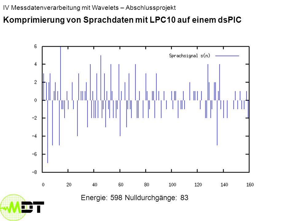 IV Messdatenverarbeitung mit Wavelets – Abschlussprojekt Komprimierung von Sprachdaten mit LPC10 auf einem dsPIC Stimmhafte Laute: hohe Energie weniger Nulldurchgänge da Frequenzbereich niedriger Stimmlose Laute: niedrige Energie Viele Nulldurchgänge Frequenzbereich: 800 bis 1600 Hz Frequenzbereich: 2400 bis 3200 Hz