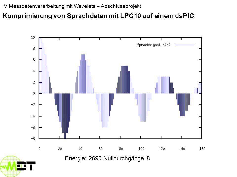 IV Messdatenverarbeitung mit Wavelets – Abschlussprojekt Komprimierung von Sprachdaten mit LPC10 auf einem dsPIC Energie: 88844 Nulldurchgänge: 14
