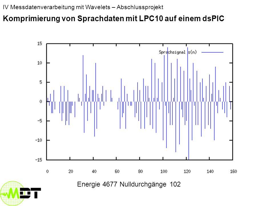 IV Messdatenverarbeitung mit Wavelets – Abschlussprojekt Komprimierung von Sprachdaten mit LPC10 auf einem dsPIC Energie: 2690 Nulldurchgänge 8