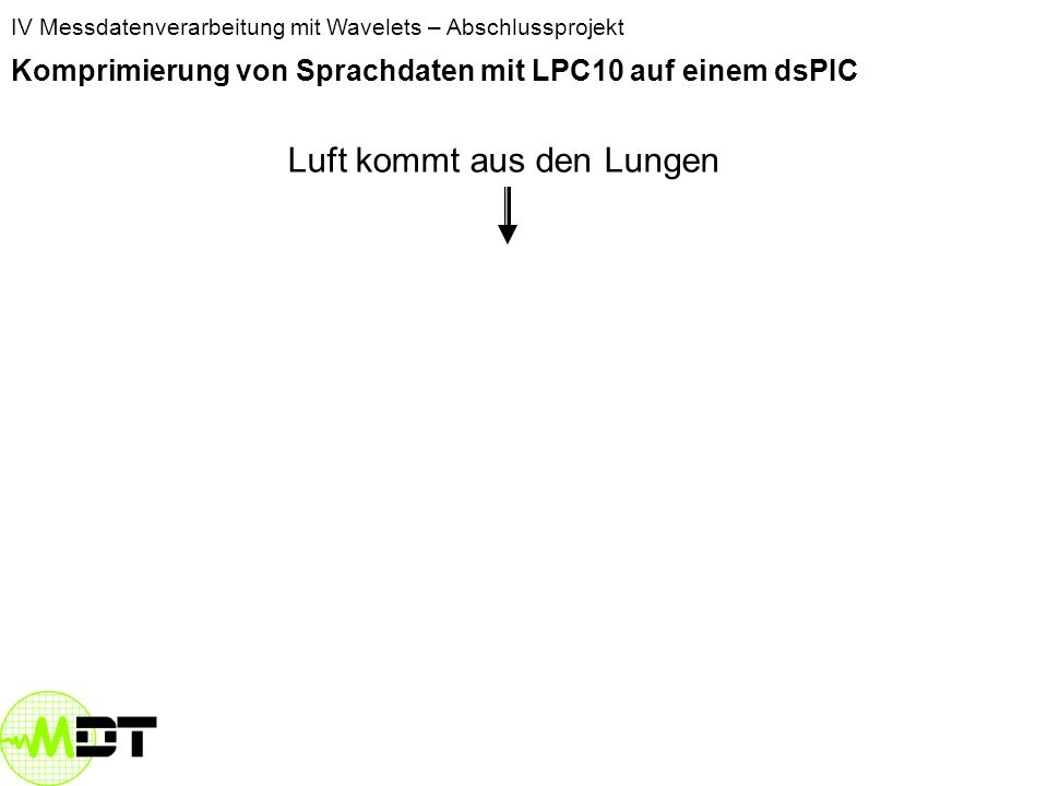 IV Messdatenverarbeitung mit Wavelets – Abschlussprojekt Komprimierung von Sprachdaten mit LPC10 auf einem dsPIC Menschliche Sprache Modell zur Spracherzeugung Speicherplatz Unterscheidung stimmhafter und stimmloser Laute Umsetzung des Modells auf dem dsPIC Optimierungsansätze Beispiel