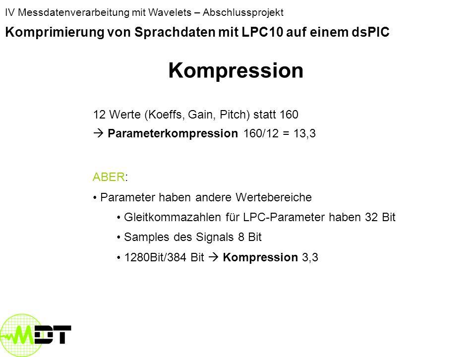 IV Messdatenverarbeitung mit Wavelets – Abschlussprojekt Komprimierung von Sprachdaten mit LPC10 auf einem dsPIC Menschliche Sprache Modell zur Sprach